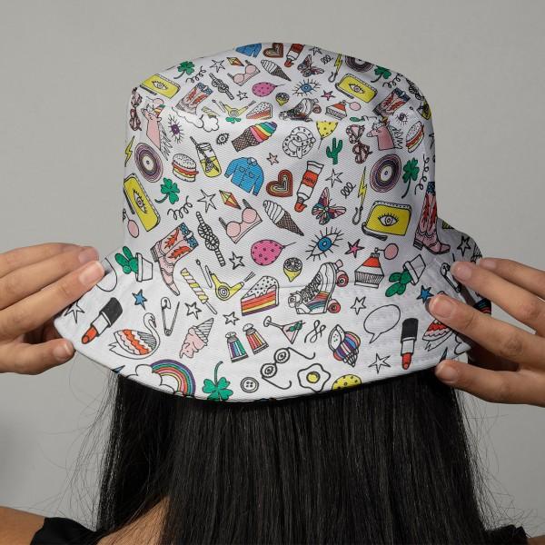Tissu Rico Toile cirée - Icônes multicolores - Fond blanc - Par 10 cm (sur mesure) - Photo n°2