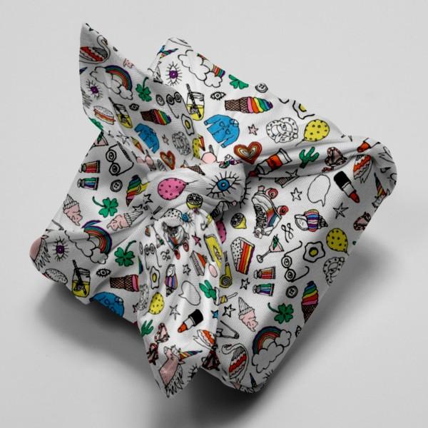 Tissu Rico Toile cirée - Icônes multicolores - Fond blanc - Par 10 cm (sur mesure) - Photo n°4