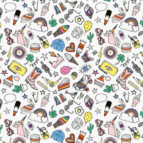 Tissu Rico Toile cirée - Icônes multicolores - Fond blanc - Par 10 cm (sur mesure) - Photo n°1