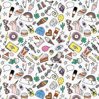Tissu Rico Toile cirée - Icônes multicolores - Fond blanc - Par 10 cm (sur mesure)