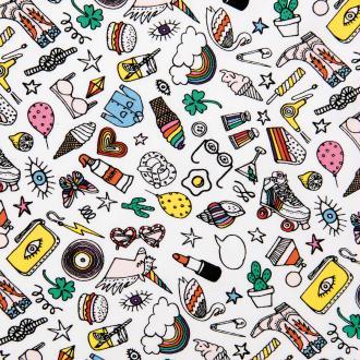 Tissu Rico - Icônes multicolores - Fond blanc - Jersey - Par 10 cm (sur mesure)