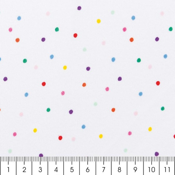 Tissu Rico - Confetti - Fond blanc - Jersey - Par 10 cm (sur mesure) - Photo n°2