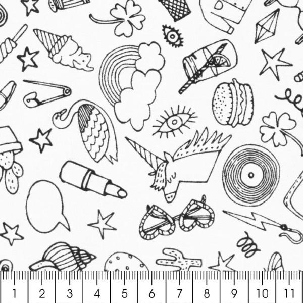 Tissu Rico - Icônes traits - Fond noir - Coton - Par 10 cm (sur mesure) - Photo n°2