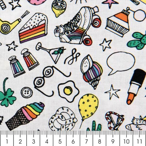 Tissu Rico - Icônes multicolores - Fond blanc - Coton - Par 10 cm (sur mesure) - Photo n°2