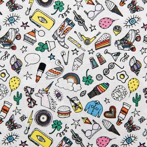 Tissu Rico - Icônes multicolores - Fond blanc - Coton - Par 10 cm (sur mesure) - Photo n°1