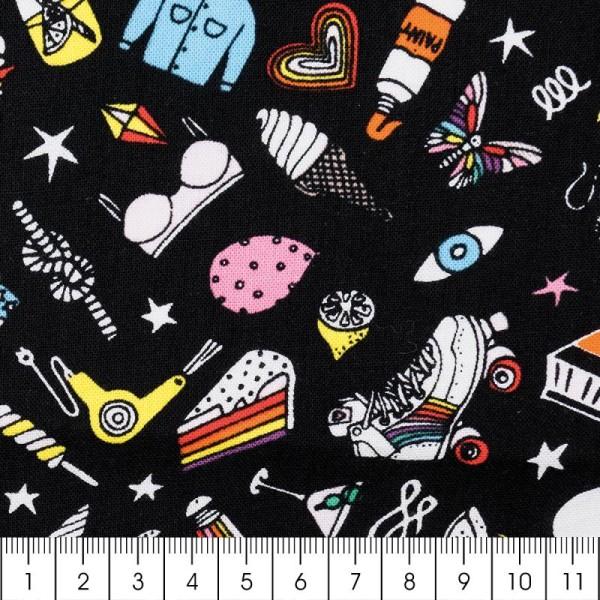 Tissu Rico - Icônes multicolores - Fond noir - Coton - Par 10 cm (sur mesure) - Photo n°2