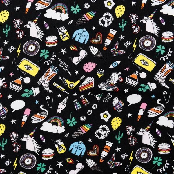 Tissu Rico - Icônes multicolores - Fond noir - Coton - Par 10 cm (sur mesure) - Photo n°1