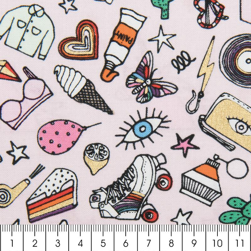 Tissu rico ic nes multicolores fond rose et or coton for Acheter miroir sur mesure