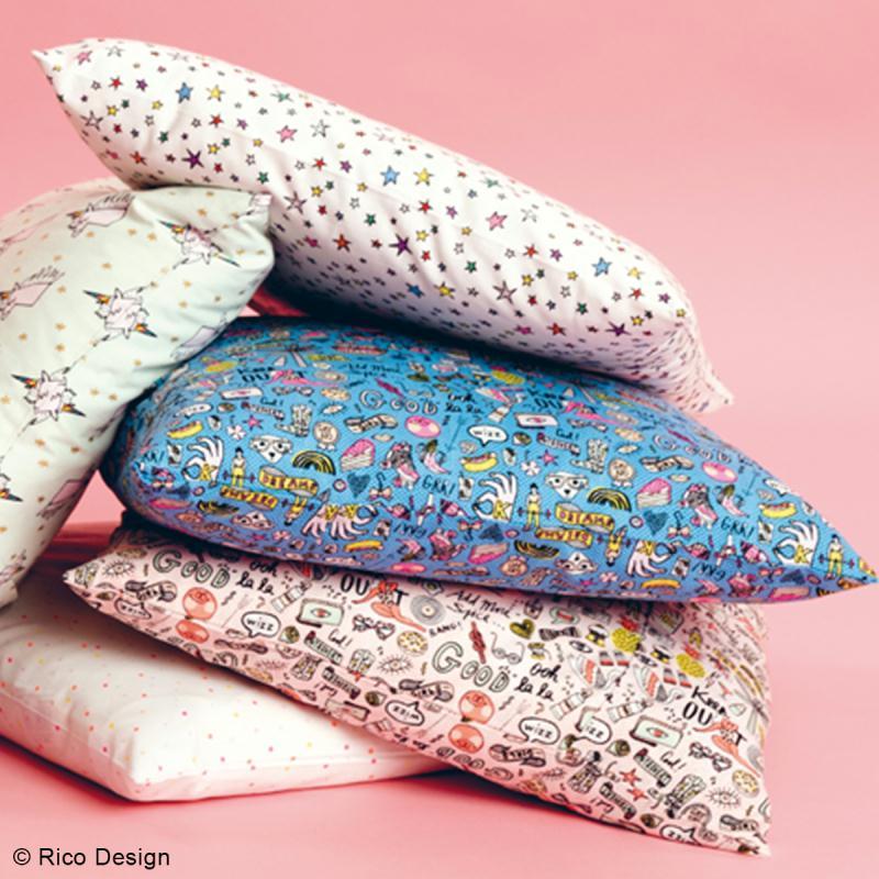 Tissu Rico - Icônes multicolores - Fond rose et or - Coton - Par 10 cm (sur mesure) - Photo n°3