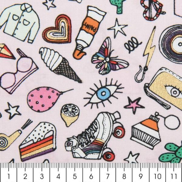 Tissu Rico - Icônes multicolores - Fond rose et or - Coton - Par 10 cm (sur mesure) - Photo n°2