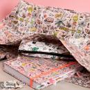 Tissu Rico - Icônes multicolores - Fond rose et or - Coton - Par 10 cm (sur mesure) - Photo n°6