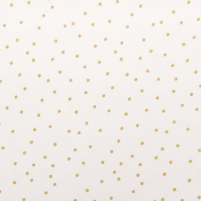 Tissu Rico - Point or - Fond blanc - Coton - Par 10 cm (sur mesure) - Photo n°1
