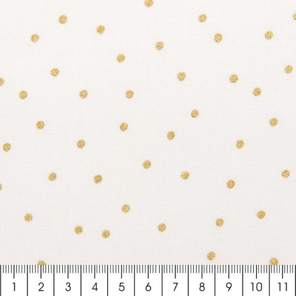 Tissu Rico - Point or - Fond blanc - Coton - Par 10 cm (sur mesure) - Photo n°2