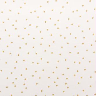 Tissu Rico - Point or - Fond blanc - Coton - Par 10 cm (sur mesure)