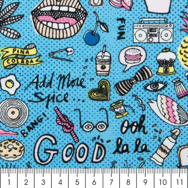 Tissu Rico - Cool girls - Fond bleu néon - Coton - Par 10 cm (sur mesure) - Photo n°2