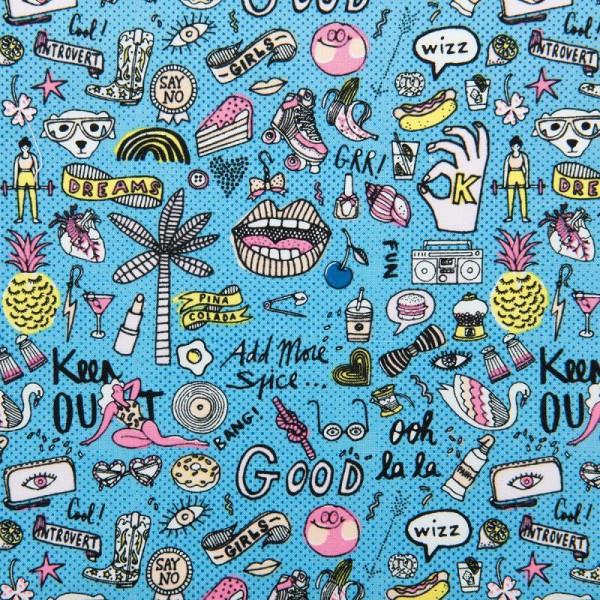 Tissu Rico - Cool girls - Fond bleu néon - Coton - Par 10 cm (sur mesure) - Photo n°1