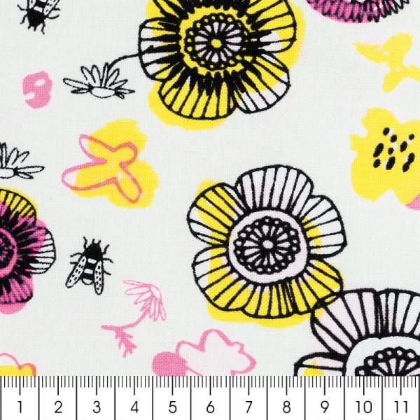 Tissu Rico - Fleurs - Fond vert menthe - Coton - Par 10 cm (sur mesure) - Photo n°2