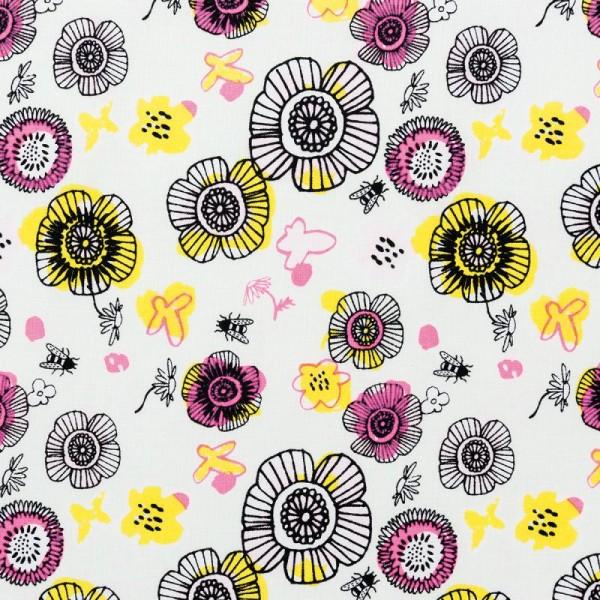 Tissu Rico - Fleurs - Fond vert menthe - Coton - Par 10 cm (sur mesure) - Photo n°1