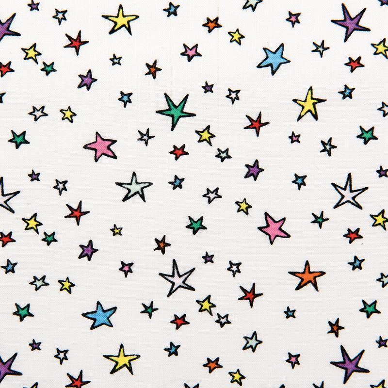 Tissu Rico - Etoiles multicolores - Fond blanc - Coton - Par 10 cm (sur mesure) - Photo n°1