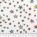 Tissu Rico - Etoiles multicolores - Fond blanc - Coton - Par 10 cm (sur mesure) - Photo n°2