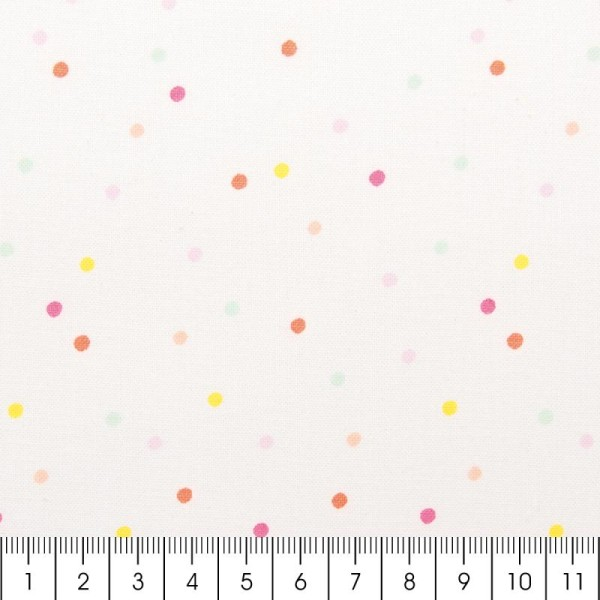 Tissu Rico - Confetti pastel - Fond blanc néon - Coton - Par 10 cm (sur mesure) - Photo n°2
