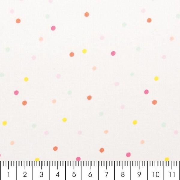Tissu Rico - Confetti pastel - Fond blanc néon - Coton - Par 10 cm (sur mesure) - Photo n°3