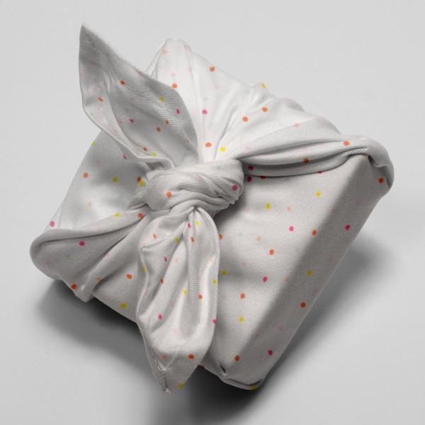 Tissu Rico - Confetti pastel - Fond blanc néon - Coton - Par 10 cm (sur mesure) - Photo n°4