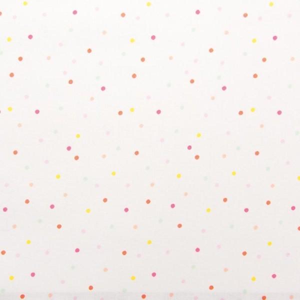 Tissu Rico - Confetti pastel - Fond blanc néon - Coton - Par 10 cm (sur mesure) - Photo n°1