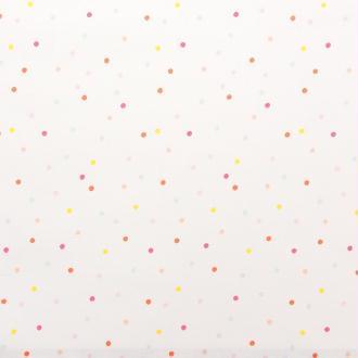 Tissu Rico - Confetti pastel - Fond blanc néon - Coton - Par 10 cm (sur mesure)