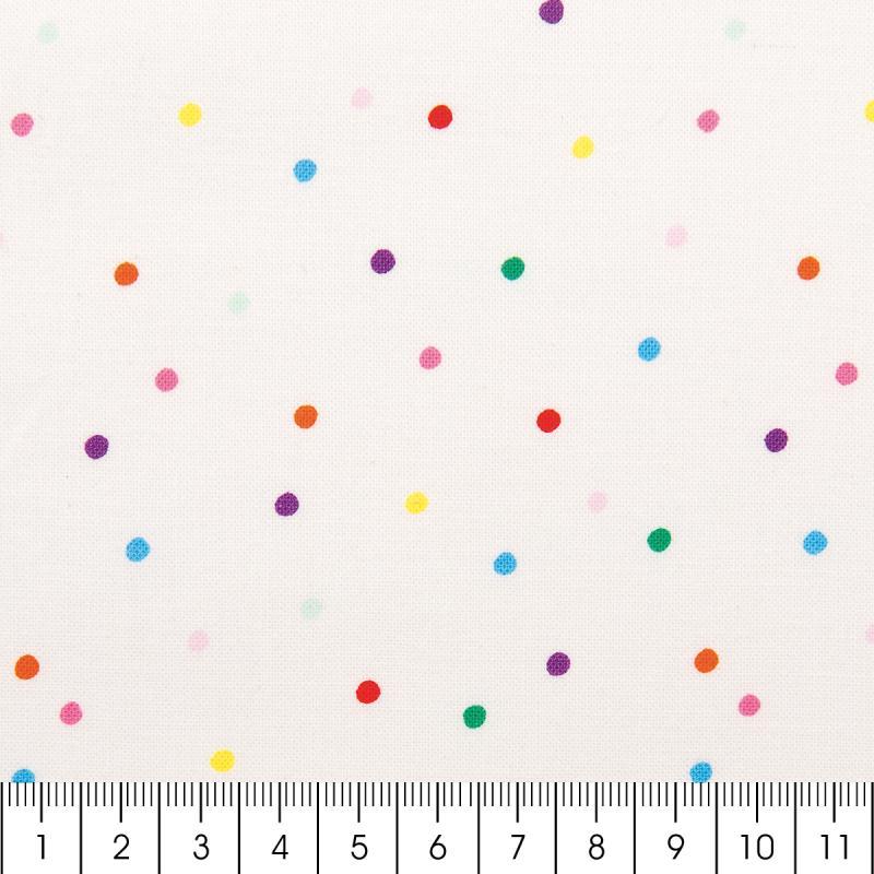 Tissu rico confetti multicolore fond blanc coton for Acheter miroir sur mesure