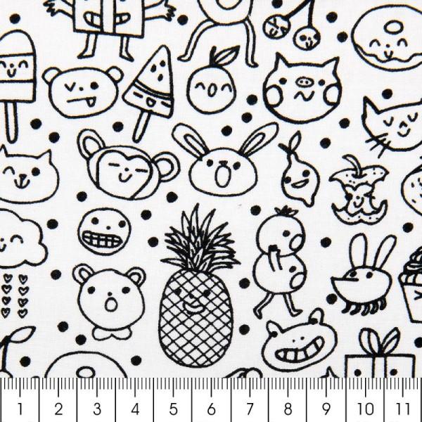 Tissu Rico - Visages traits - Fond blanc - Coton - Par 10 cm (sur mesure) - Photo n°3