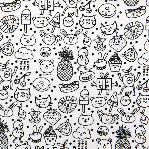 Tissu Rico - Visages traits - Fond blanc - Coton - Par 10 cm (sur mesure) - Photo n°1