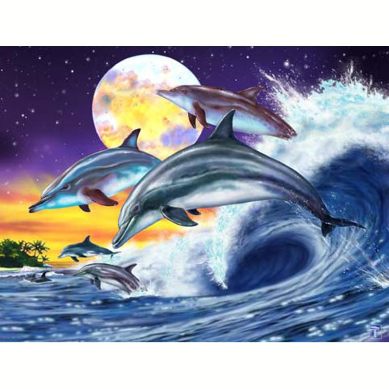 image 3d animaux saut de dauphins 30 x 40 images 3d 30x40 cm creavea. Black Bedroom Furniture Sets. Home Design Ideas