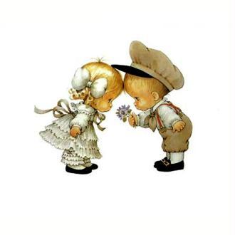 Image 3D Enfant - Les amoureux au  bouquet de violette 24 x 30