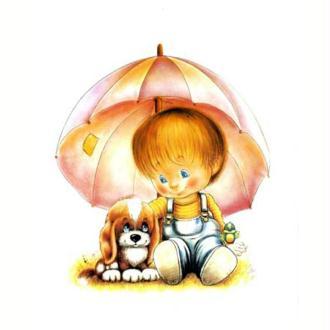 Image 3D Enfant - Garçon au parapluie et chiot 24 x 30