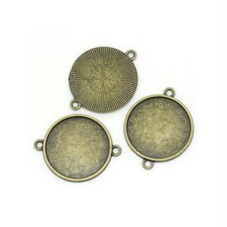 20 Connecteurs Supports Cabochons Bronze 25mm