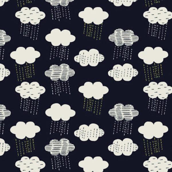 Tissu Dashwood Midnight garden - Nuages - Fond Bleu marine - Par 10 cm - Photo n°1
