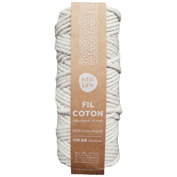 Bobine coton câblé 4 mm - Blanc naturel - 45 m - Photo n°1