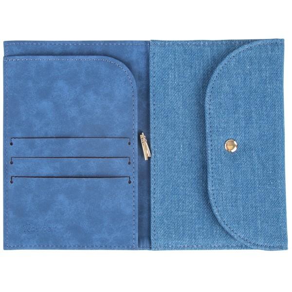 Portefeuille à customiser - Bleu jeans - 11 x 16 cm - Photo n°2
