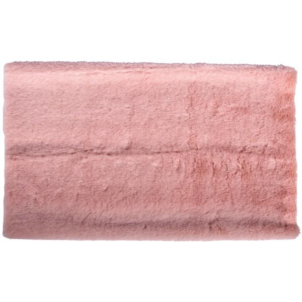 Coupon de tissu en peluche - Rose - 51 x 43 cm - Photo n°1