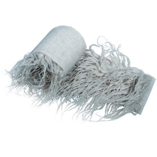 Coupon de tissu en peluche poils longs - Gris clair - 60 x 10 cm - Photo n°1