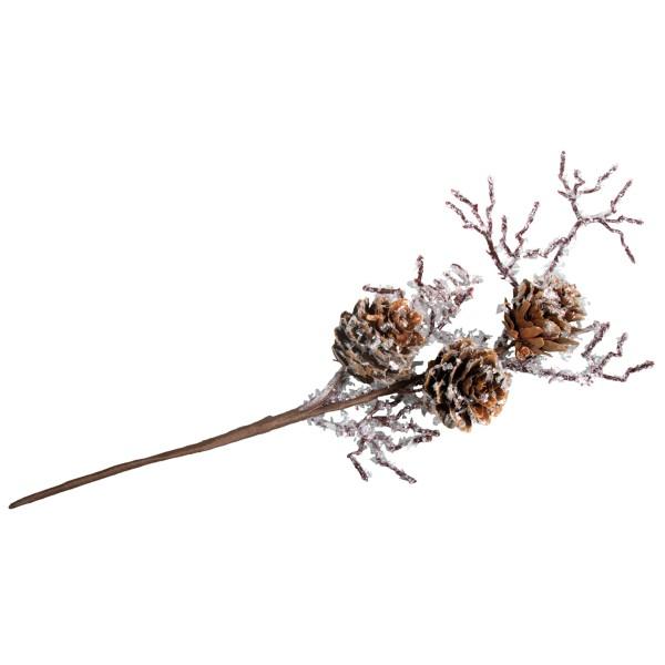 Branche de mélèze - Givre et pommes de pin - 26 cm - Photo n°2