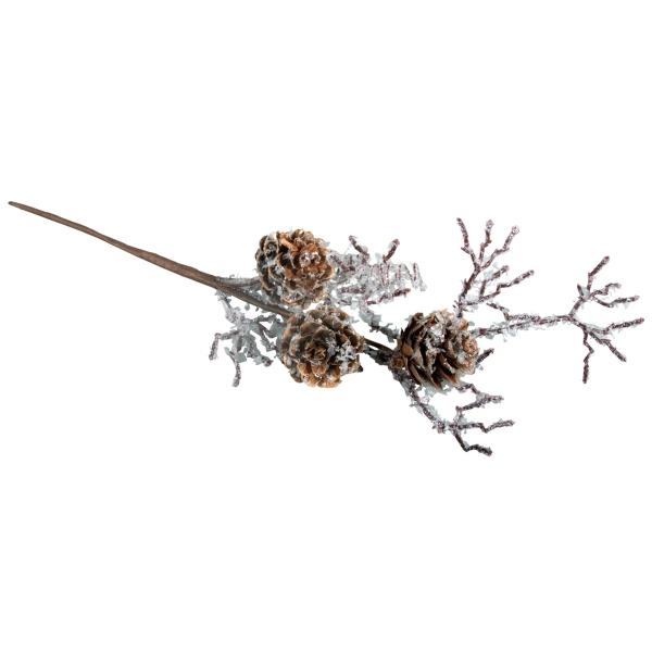 Branche de mélèze - Givre et pommes de pin - 26 cm - Photo n°1