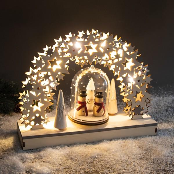 Kit Décor de Noël en bois et plateau tournant - Étoiles - 30 x 9 x 23,5 cm - Photo n°2