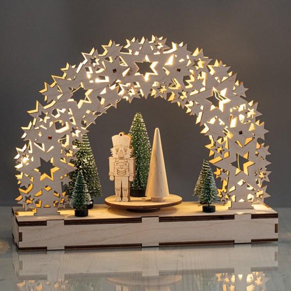 Kit Décor de Noël en bois et plateau tournant - Étoiles - 30 x 9 x 23,5 cm - Photo n°4