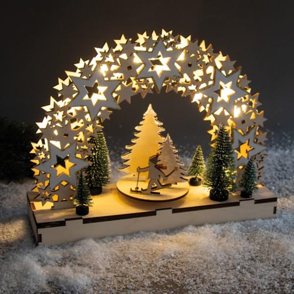 Kit Décor de Noël en bois et plateau tournant - Étoiles - 30 x 9 x 23,5 cm - Photo n°5