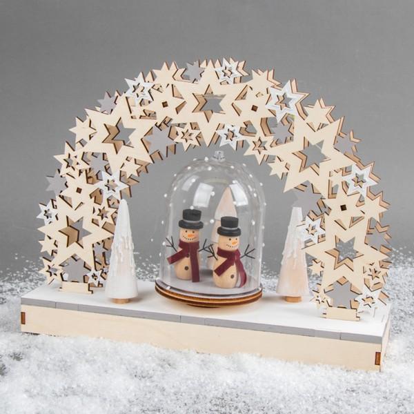 Kit Décor de Noël en bois et plateau tournant - Étoiles - 30 x 9 x 23,5 cm - Photo n°6