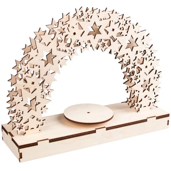 Kit Décor de Noël en bois et plateau tournant - Étoiles - 30 x 9 x 23,5 cm - Photo n°1