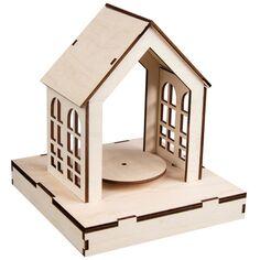 Kit Décor en bois et plateau tournant - Maison - 18,5 x 18,5 x 21 cm