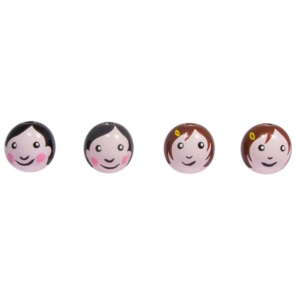 Boules en bois têtes de poupée - Maman et Papa  - 2,3 cm - 4 pcs - Photo n°2